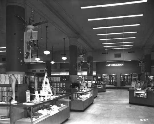Black and white photograph of the interior, Donaldson's, 1949. Photograph by Norton & Peel.