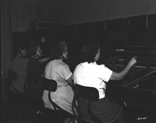 Black and white photograph of a switchboard at L. S. Donaldson Company, 1951. Photograph by Norton & Peel.