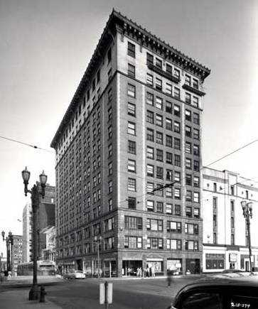 Black and white photograph of the Commerce Building, 1953.