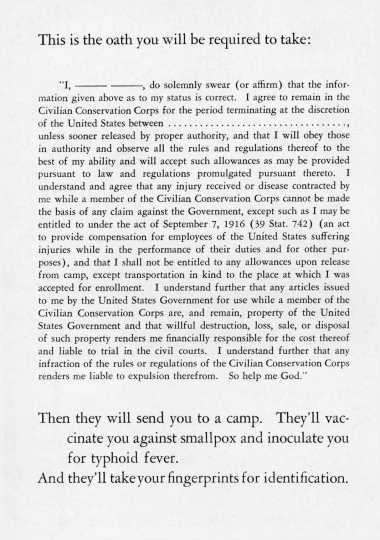 Black and white scan of the CCC Oath, from The CCC at work. A story of 2,500,000 young men, 1941.
