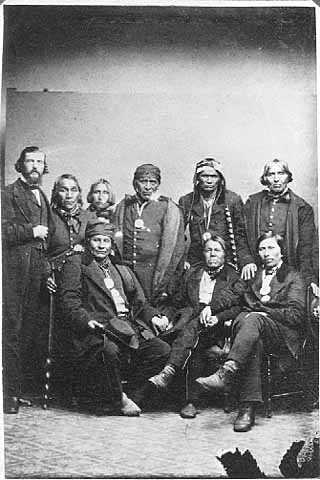 Ojibwe men, possibly at 1857 or 1862 treaty signing