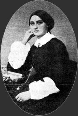 Black and white photograph of Oline Pind Muus, c.1850s.