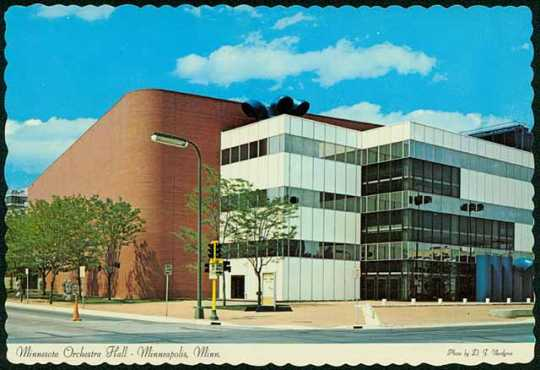 Colorized postcard of the Orchestra Hall exterior, c.1975.