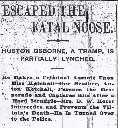 Black and white image of headline from the St. Paul Pioneer Press regarding the near-lynching of Houston Osborne, June 3, 1895.