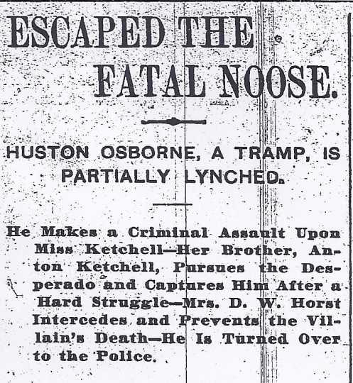 Black and white image of headline from the St. Paul Pioneer Press regarding the near-lynching of Houston Osborne, June 3, 1895.