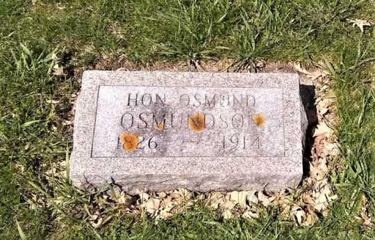 Osmund Osmundson grave marker, Valley Grove. Photo taken in 2019.