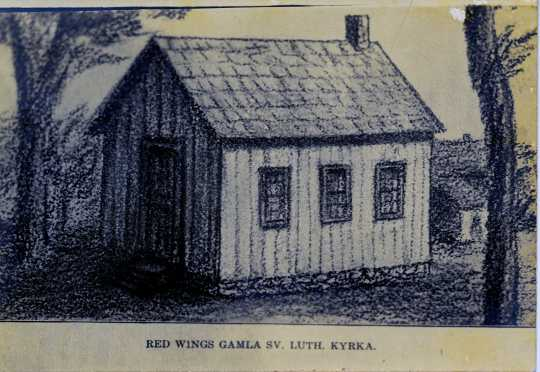 Black and white photograph of Red Wing Gamla Sv. Lutheran Kyrka (Old Swedish Lutheran Church), birthplace of what would become Gustavus Adolphus College in 1862. [Undated image]