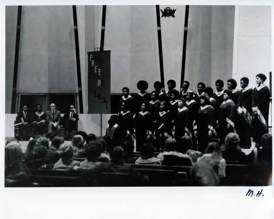 Black and white photograph of the black student chorus performing in Christ Chapel, [undated].