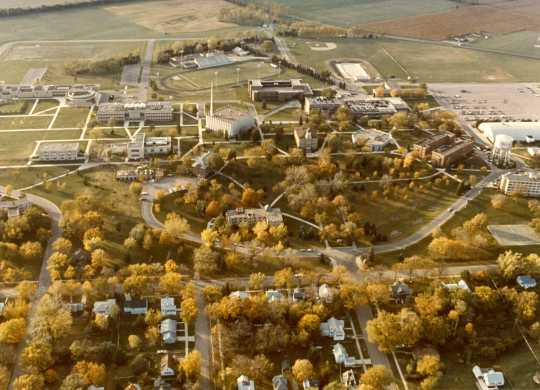 Color erial view of the College, 1972.