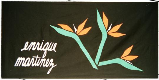 Color image of a quilt panel memorializing Enrique Martinez, 1988.