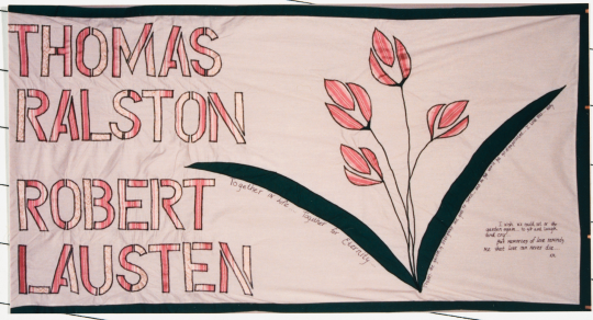 Color image of a quilt panel memorializing Thomas Ralston and Robert Lausten, 1988.