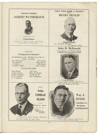 Five candidates for public office advertise their campaigns in a blackface minstrel show pamphlet. From the Minnesota Historical Society pamphlet collection, St. Paul.