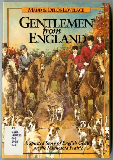 Color scan of the front cover of paperback edition of Maud Hart Lovelace's Gentlemen from England, published by the Minnesota Historical Society Press, 1993.