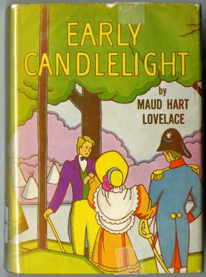 Color scan of the front cover of book jacket for Early Candlelight, a novel by Maud Hart Lovelace, published by the University of Minnesota Press, 1949.