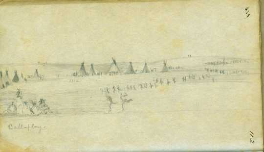 Drawing of a lacrosse game, 1851