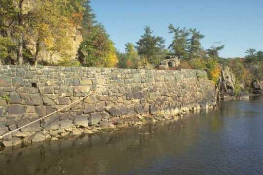 Color image of a Interstate State Park retaining wall along the St. Croix River.