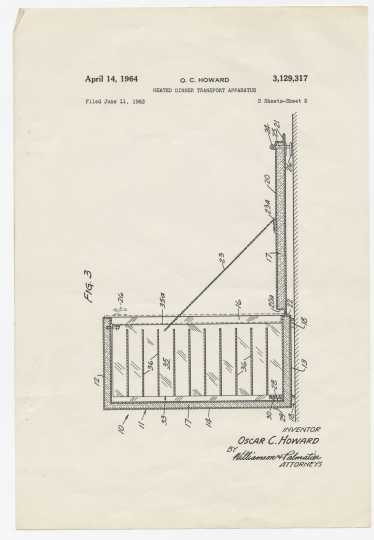 Drawing to accompany application for United States Patent 3,129,317, awarded to Oscar Curtis Howard on April 14, 1964, for Heated Dinner Transport Apparatus. Oscar C. Howard papers, 1945–1990, Cafeteria and Industrial Catering Business, Manuscripts Collection, Minnesota Historical Society.