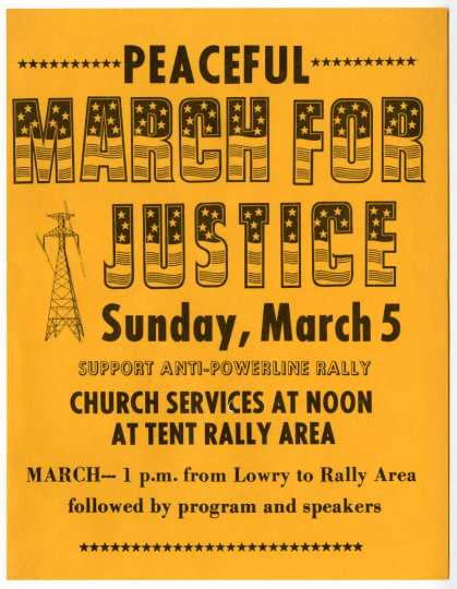 Peaceful March For Justice flyer, undated. The march was organized to protest the construction of power lines in rural Minnesota in the late 1970s or early 1980s. Used with the permission of Pope County Historical Society.