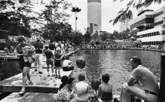 Black and white photograph of Sommerfest at Peavey Plaza, c.1980s.