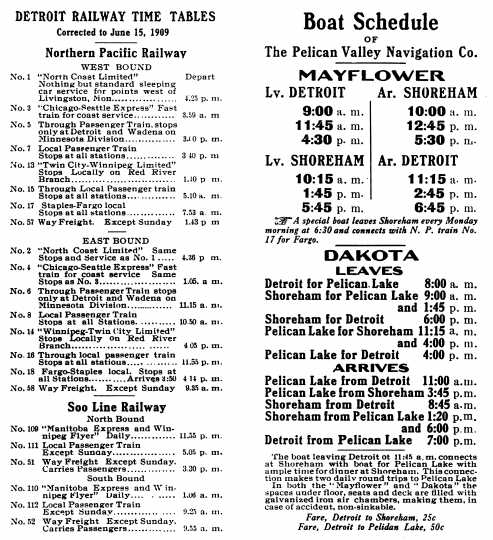 print brochure advertising the schedule of the Pelican Valley Navigation Company