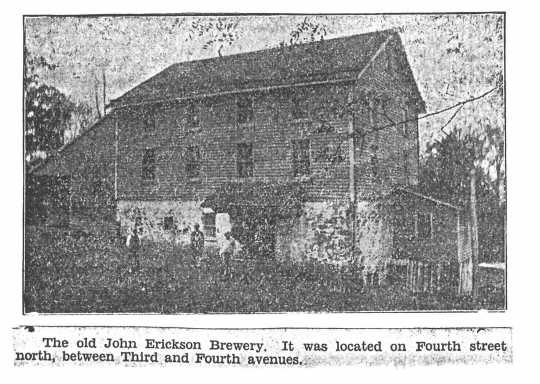 Erickson's (Moorhead) Brewery. Photograph, 1876–ca. 1895.