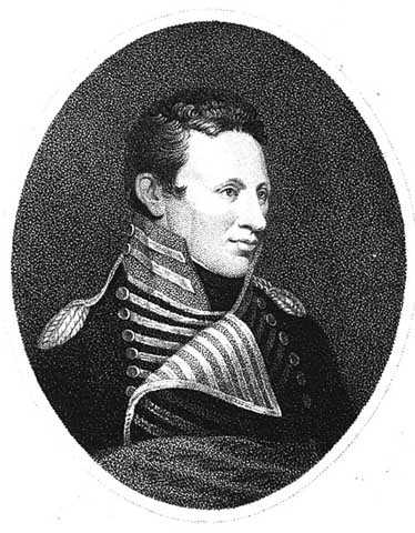 Black and white portrait of Zebulon M. Pike wearing the uniform of an U.S. Army captain, c.1810.