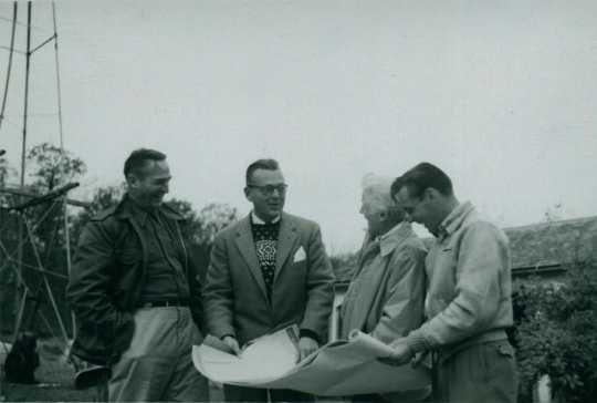 Black and white photograph of Frances E. Andrews (second from right) and others, ca. mid-1950s. Used with the permission of the Hunt Hill Audubon Society.