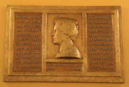 Photograph of A plaque honoring Clara Ueland at the Minnesota State Capitol (1927).