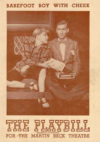 Cover of Playbill for the musical adaptation of Max Shulman's novel Barefoot Boy with Cheek, which opened at the Martin Beck Theatre on Broadway in 1947.