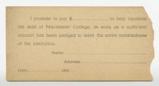 Photograph of Pledge Drive form for Macalester College, 1890