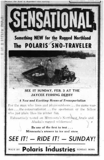 One of the earliest known Polaris newspaper advertisements. Bemidji Pioneer, February 2, 1957.