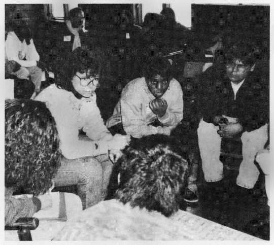 Minneapolis residents discuss policing and community relations at one of Inter-Race's group forums, 1991. From the organizational records of the INTER-RACE Institute 1986–2001 (box 1991 123.F.10.4F), Manuscripts Collection, Minnesota Historical Society, St. Paul.