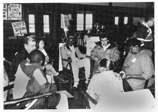 Minneapolis residents discuss policing and community relations at one of Inter-Race's group forums, 1991. From the organizational records of the INTER-RACE Institute 1986–2001 (box 123.F.10.4F), Manuscripts Collection, Minnesota Historical Society, St. Paul.