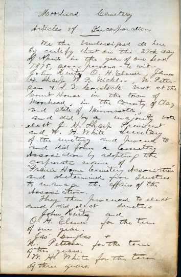 Prairie Home Cemetery's articles of incorporation