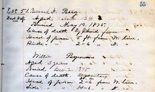 Record of Bernard Berg's burial