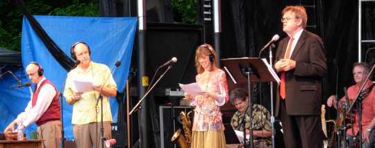 Sound effects artist Tom Keith, voice actors Tim Russell and Sue Scott, and Garrison Keillor perform during a live broadcast of A Prairie Home Companion from Lanesboro, Minnesota, in June 2007.