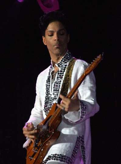 Prince performing at the Coachella music festival