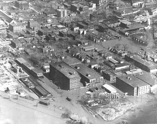 Aerial view of the West Side of St. Paul during flooding