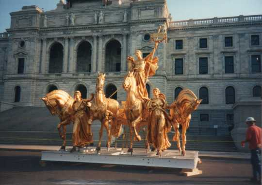 Color image of the Quadriga being prepared for reinstallation following a full restoration by Fine Objects Conservation, Inc., June 21, 1995. Photographed by Linda A. Cameron.