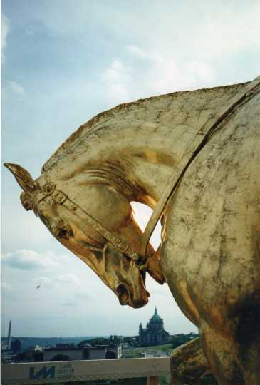 Color image showing the effects of Minnesota's harsh climate on the golden horses of the Quadriga, August 1994. Photographed by Linda A. Cameron.