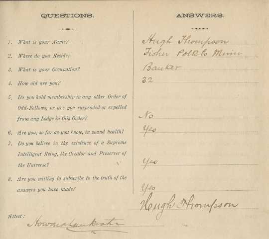 Color scan of an admission questionnaire for potential IOOF members answered by Hugh Thompson on March 22, 1913.