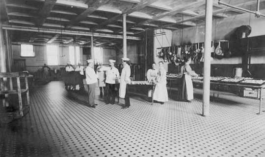 Black and white photograph of the kitchen, Rochester State Hospital, March 18, 1905.