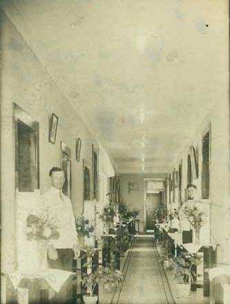 Black and white photograph of the interior, Rochester State Hospital, 1918.