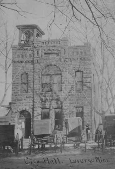 Black and white photograph of the old Luverne city hall, ca. 1890s.