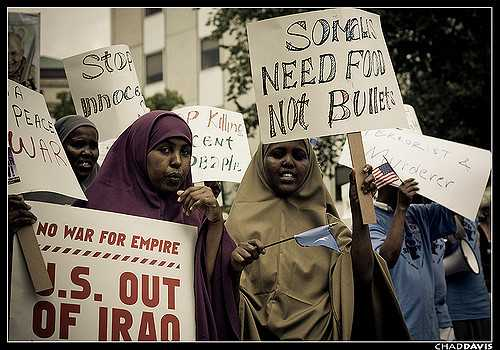 Photograph of Somali Minnesotans protesting the 2008 Republican National Convention in St. Paul.