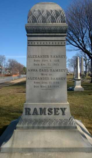 Color image of Alexander Ramsey monument, 2014.