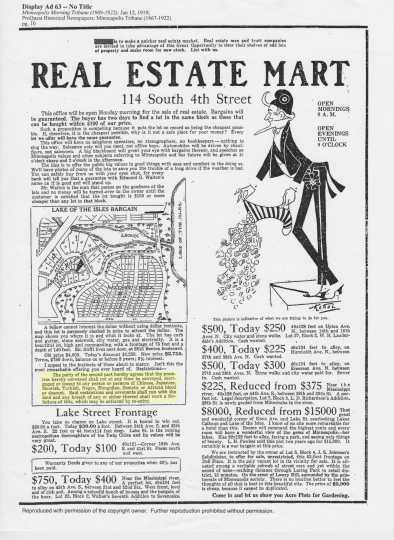 Advertisement placed by Edmund G. Walton in the Minneapolis Morning Tribune, January 12, 1919. A restriction banning Jewish tenants and tenants of color is highlighted.