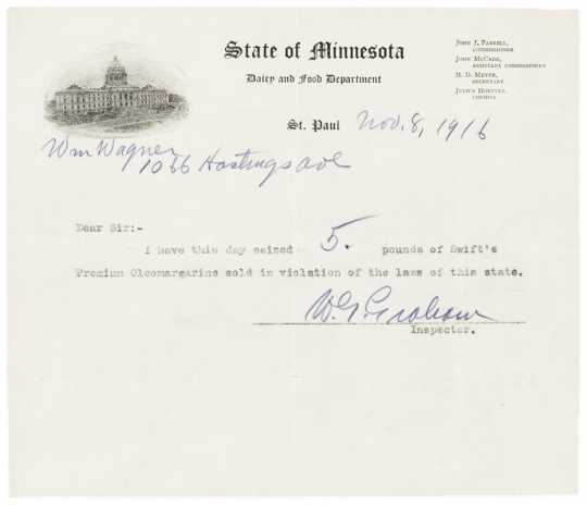Receipt for illegal margarine seized from a St. Paul grocer, November 8, 1916. From the Davis, Kellogg & Severance Law Firm Records, 1878-1941, Minnesota Historical Society.