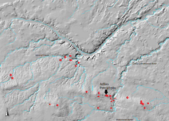 LiDAR map of the Red Rock Ridge and its cultural sites