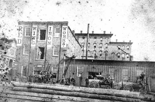 Black and white photograph of Red Wing Iron Works building, c. 1890.
